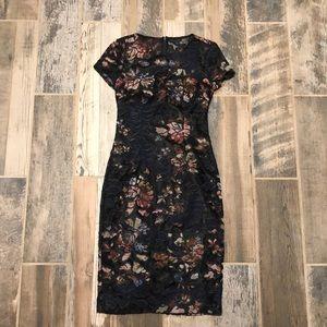 David Meister black mesh and  floral dress Sz 2